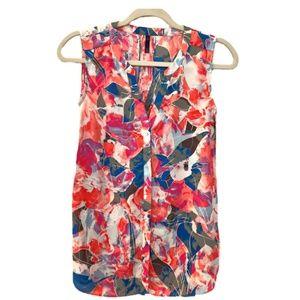 Sleeveless Pintuck Blouse - Tropical theme fabric